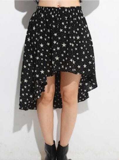 Black Polka Dot and Star Print Elastic Waist High-low Skirt With Curved Hem