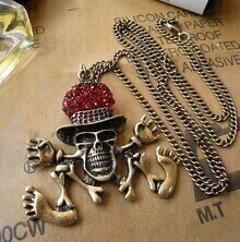 Red Crystal Embellished Dancing Pirates Long Necklace