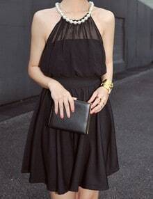 Black Pleated Pearls Halter Top Elastic Waist Sleeveless Chiffon Dress
