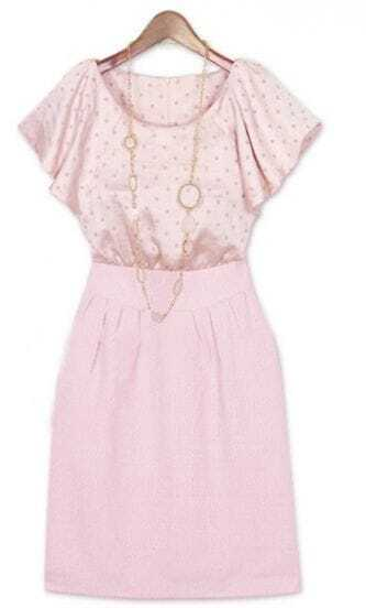 Pink Polka Dot Elastic Waist Round Neck Ruffle Sleeve Silk Dress