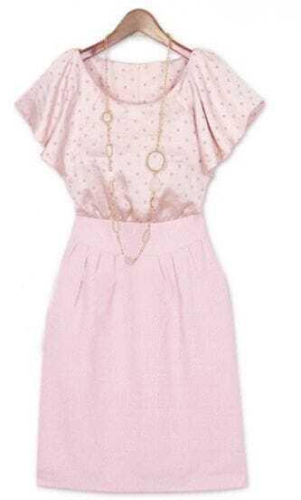 Pink Polka Dot Elastic Waist Round Neck Ruffle Sleeve Silk Dress