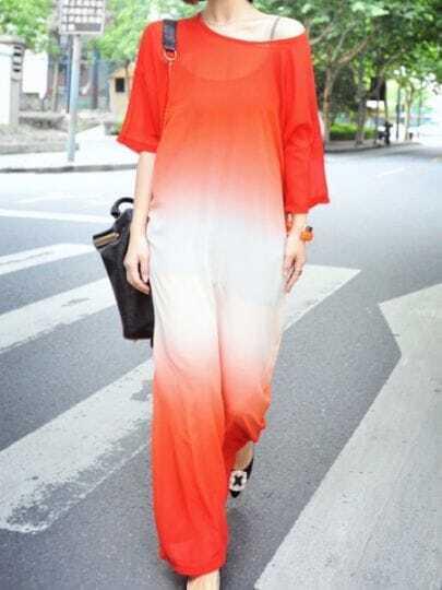 Red Gradient Scoop Three-quarter Length Bat Sleeve Chiffon Dress