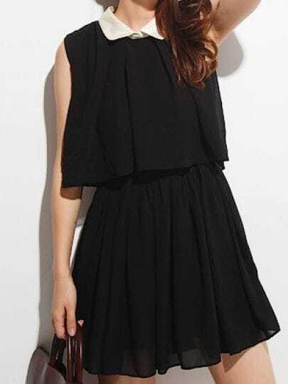Black Elastic Waist Two-layer Sleeveless Ruffle Chiffon Dress With Black Lapel