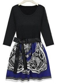 Blue and Black Tribal Print High Waist Three-quarter Length Sleeve Dress