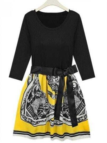 Yellow and Black Tribal Print High Waist Three-quarter Length Sleeve Dress