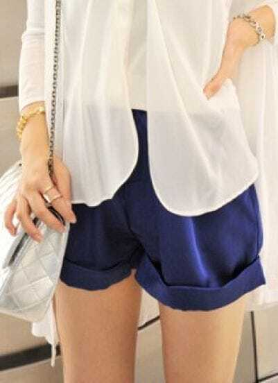 Navy High Waist Turn-up Silk Shorts