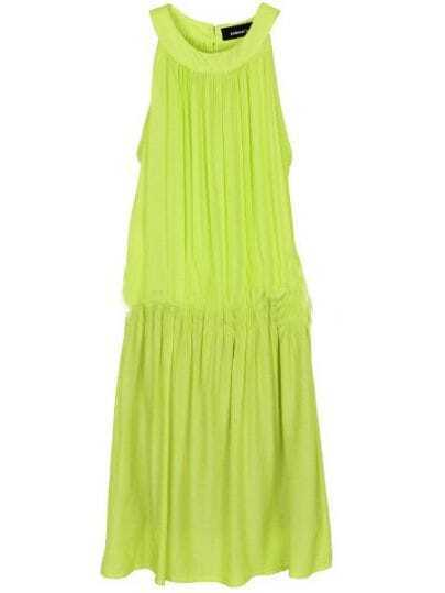 Green Pleated Low Waist Round Neck Sleeveless Chiffon Dress