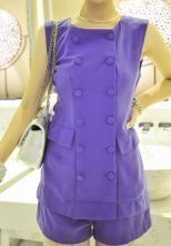 Purple Elastic Waist Round Neck Sleeveless Chiffon Jumpsuit With Pockets