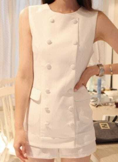 White Elastic Waist Round Neck Sleeveless Chiffon Jumpsuit With Pockets