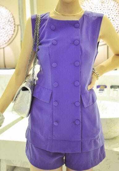 Purple Elastic Waist Round Neck Sleeveless Chiffon Jumpsuit With Pockets