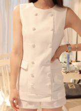 White Elastic Waist Round Neck Sleeveless Chiffon Jumpsuit With Pockets