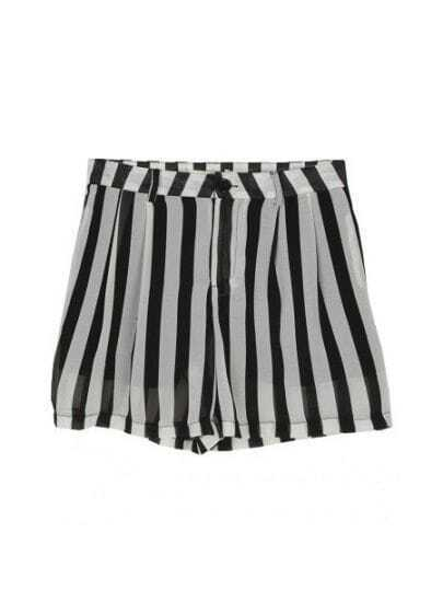Black and White Vertical Stripe Elastic Waist High-low Skirt Pants