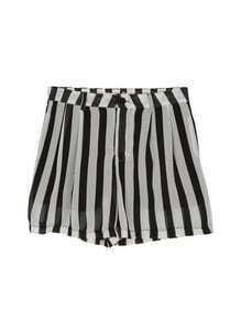 Black and White Vertical Stripe Elastic Waist High-low Skirt Pants