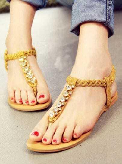 Gold T-strap Rhinestone Embellished Toepost Flats
