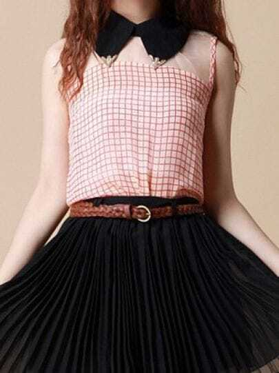 Red Check Print Sleeveless Chiffon Split Back Blouse