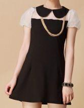 Black and White Doll Collar Puff Sleeve Chiffon Dress