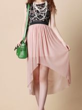 Lace Patched Pleated Sleeveless High-low Chiffon Dress