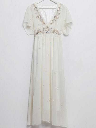 White Sequined V-shape Collar Batwing Sleeve Chiffon Dress