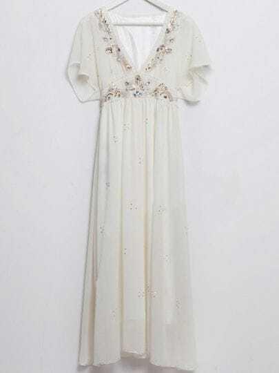 White Sequined V-shape Collar Batwing Sleeve Chiffon Dress
