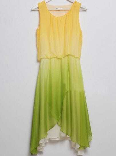 Yellow and Green Gradient Asymmetric Chiffon Tank Dress