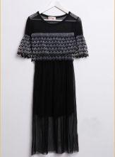 Black Fish Scale Print Pleated Short Sleeve Chiffon Dress