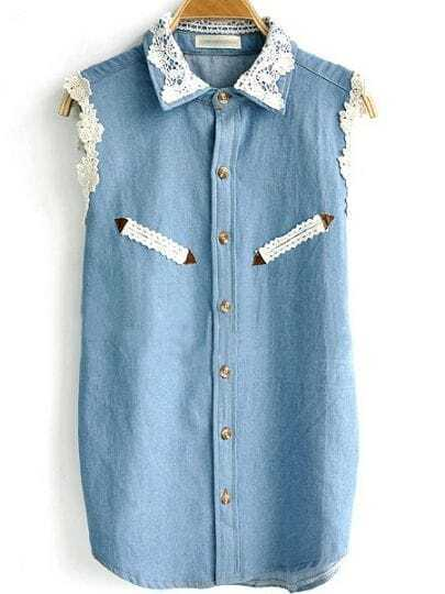 Light Blue Crochet Collar Sleeveless Denim Shirt