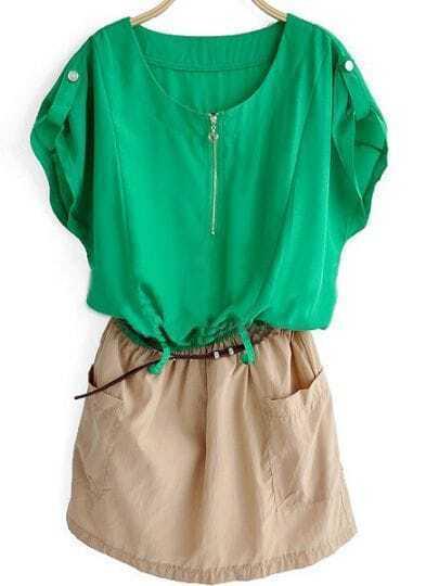 Green Short Sleeve Zipper Front Shirt Belt Dress With Pocket