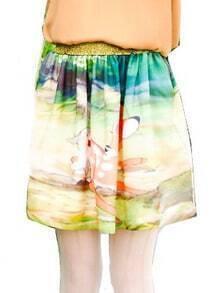 Green Animal Print Cartoon Elastic Waist Chiffon Dress