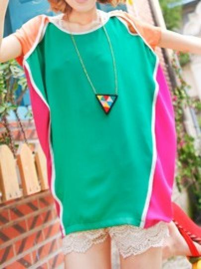 Green Split Sleeve Cut Out Tie Back Chiffon Blouse