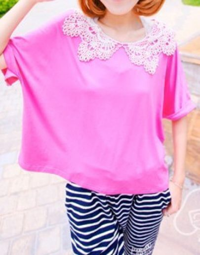 Pink Crochet Collar Roll Short Batwing Sleeve T-shirt