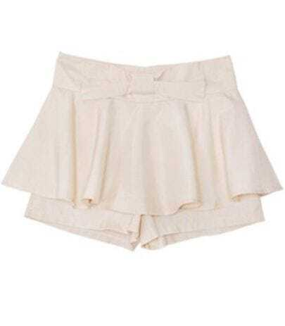Beige Mid Waist Bow Polyester Shorts