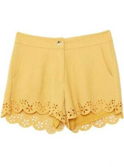 Yellow Mid Waist Hollow Shorts