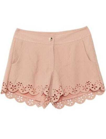 Pink Mid Waist Hollow Shorts