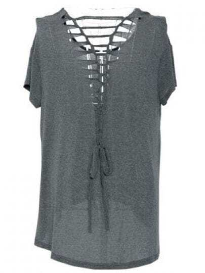 Grey Short Sleeve Dipped Hem Ripped Lace UP Back T-Shirt