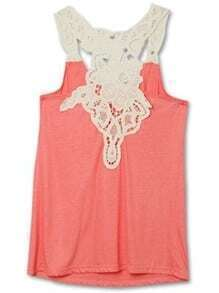 Red Crochet Lace Flower Racer Tank Vest