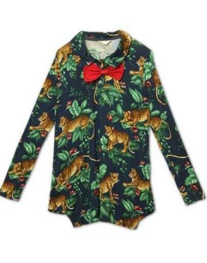 Navy Long Sleeve Forest Print Bowtie Front Lapel T-Shirt