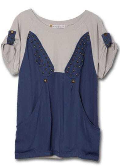 Blue Grey Short Sleeve Studded Side Pockets Cotton T-Shirt