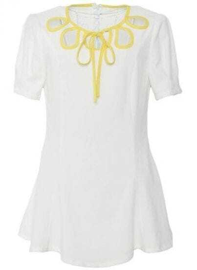 White Round Neck Short Puff Sleeve Hollow Loose Polyester Dress