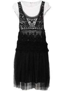 Black And White Round Neck Sleeveless Lace Mid Waist Dress