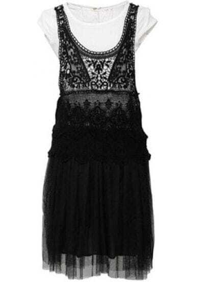 Black And White Round Neck Sleeveless Lace Mid Waist Dress
