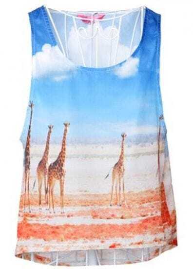 Blue Giraffes Print Tails Tank Top