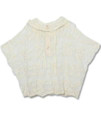 Beige Batwing Short Sleeve Floral Lace Hooded Blouse