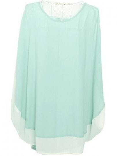 Green Sleeveless Chiffon Curved Hem Poncho Shirt