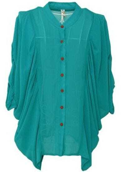 Green Three Quarter Length Sleeve Draped Side Chiffon Shirt