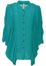 Green Three Quarter Length Sleeve Draped Side Chiffon Shirt