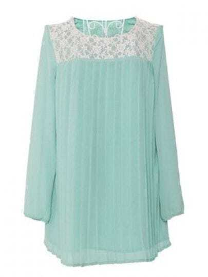 Green Long Sleeve Floral Lace Pleated Chiffon Shirt
