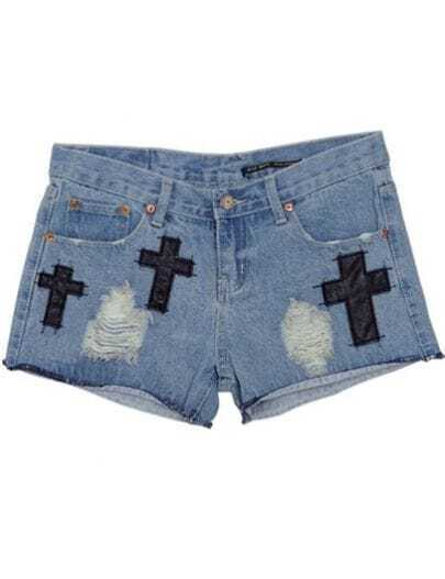 Light Blue High Waist Bleached Ripped Denim Shorts