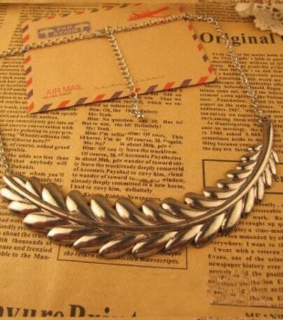Silver Long Leaves Necklace