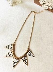 Black And White Geometric Triangle Necklace