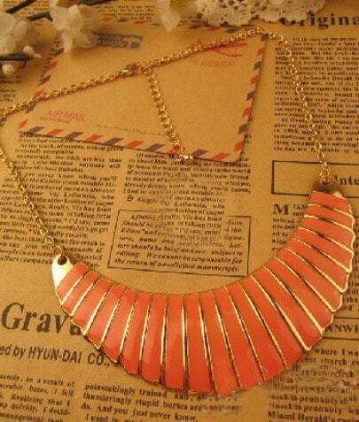 Orange Crescent Gold Necklace